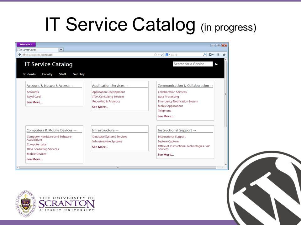 IT Service Catalog (in progress)