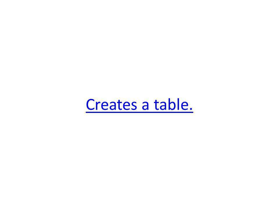 Creates a table.