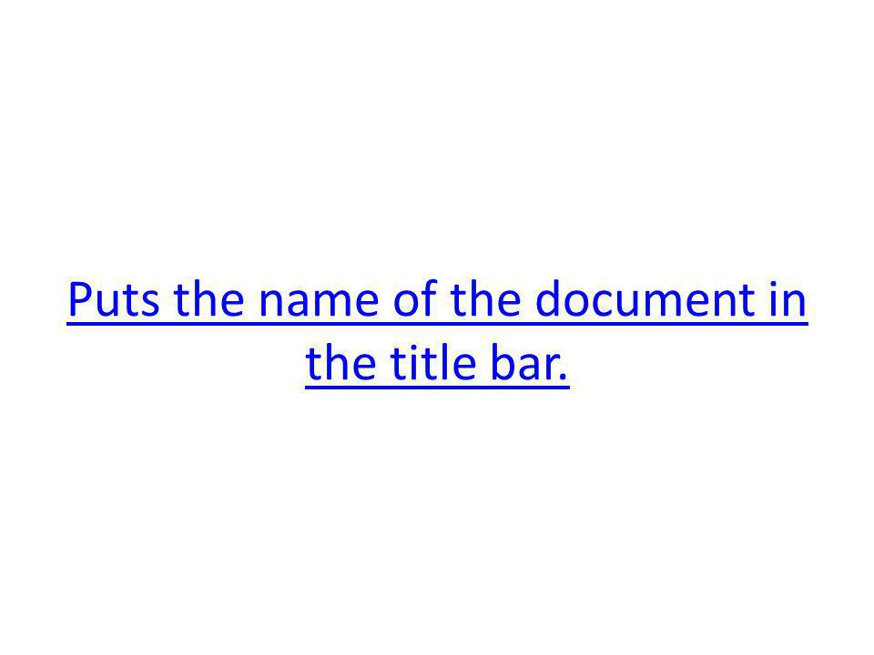 Puts the name of the document in the title bar.