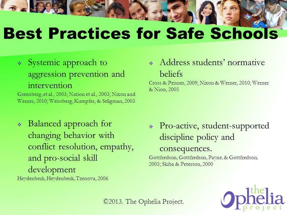 Best Practices for Safe Schools Systemic approach to aggression prevention and intervention Greenberg, et al., 2003; Nation et al., 2003; Nixon and Werner, 2010; Weissberg, Kumpfer, & Seligman, 2003 Balanced approach for changing behavior with conflict resolution, empathy, and pro-social skill development Heydenberk, Heydenberk, Tzenova, 2006 Address students normative beliefs Cross & Peisner, 2009; Nixon & Werner, 2010; Werner & Nion, 2005 Pro-active, student-supported discipline policy and consequences.