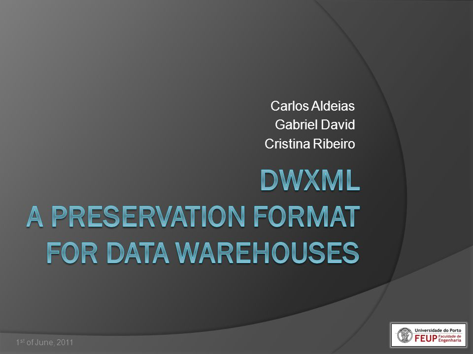 DWXML – A Preservation Format for Data Warehouses 12/46 Carlos Aldeias 1 st of June, 2011 They give the context and meaning to the facts Represent the relevant vectors of analysis of the business process facts Usually represented by one or more dimensional tables Levels Hierarchies Attributes Introduction Motivation DW Preservation DWXML DBPreserve Suite Conclusions