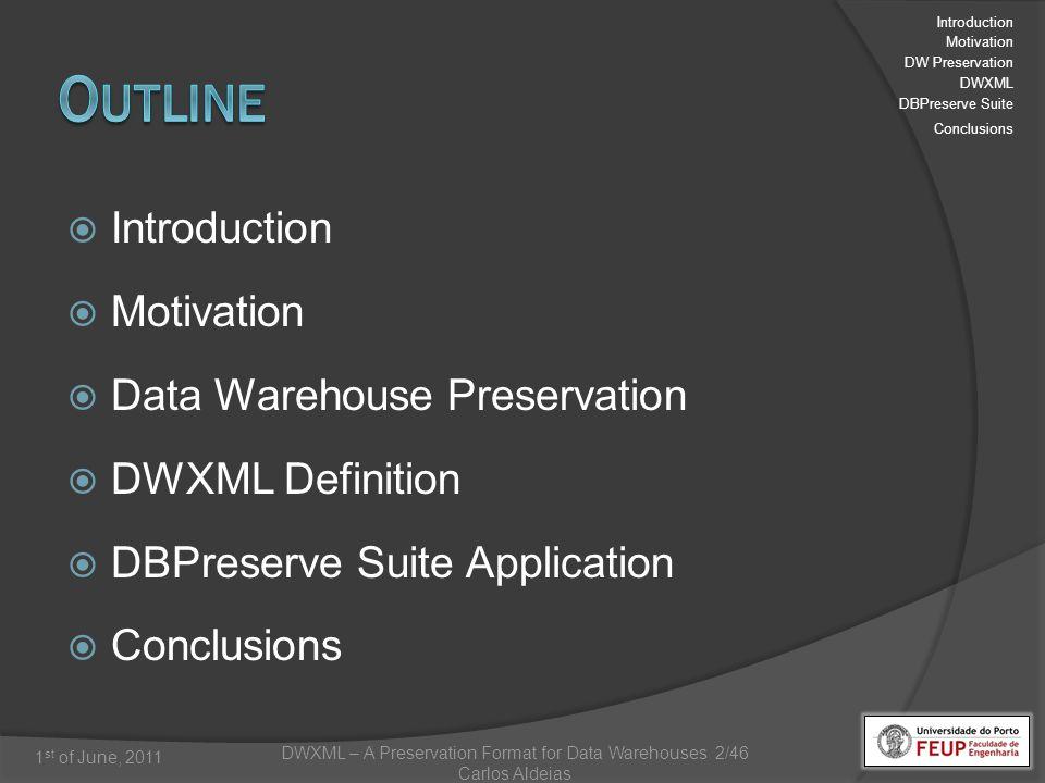 DWXML – A Preservation Format for Data Warehouses 2/46 Carlos Aldeias 1 st of June, 2011 Introduction Motivation Data Warehouse Preservation DWXML Definition DBPreserve Suite Application Conclusions Introduction Motivation DW Preservation DWXML DBPreserve Suite Conclusions