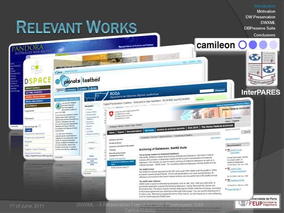 DWXML – A Preservation Format for Data Warehouses 5/46 Carlos Aldeias 1 st of June, 2011 InterPARES Introduction Motivation DW Preservation DWXML DBPreserve Suite Conclusions