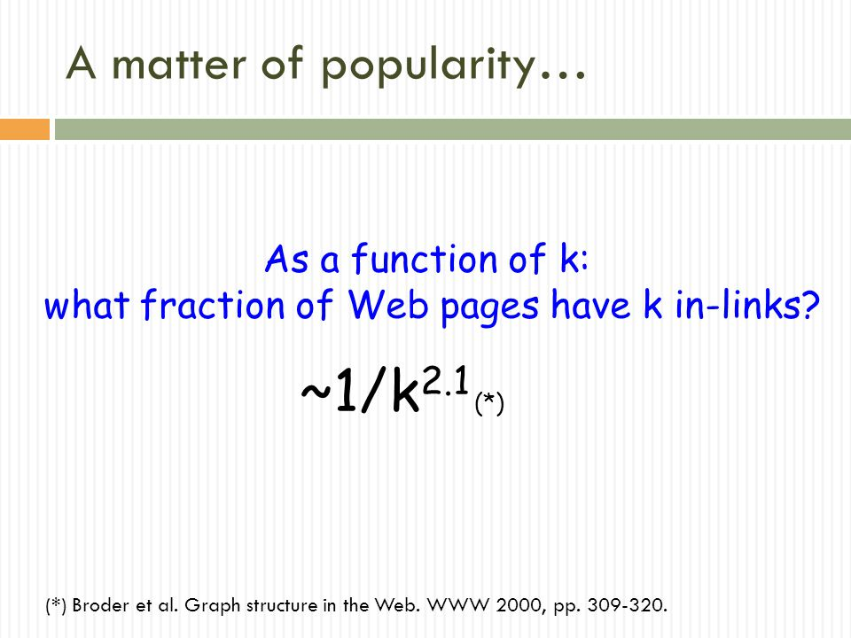 A matter of popularity… As a function of k: what fraction of Web pages have k in-links.