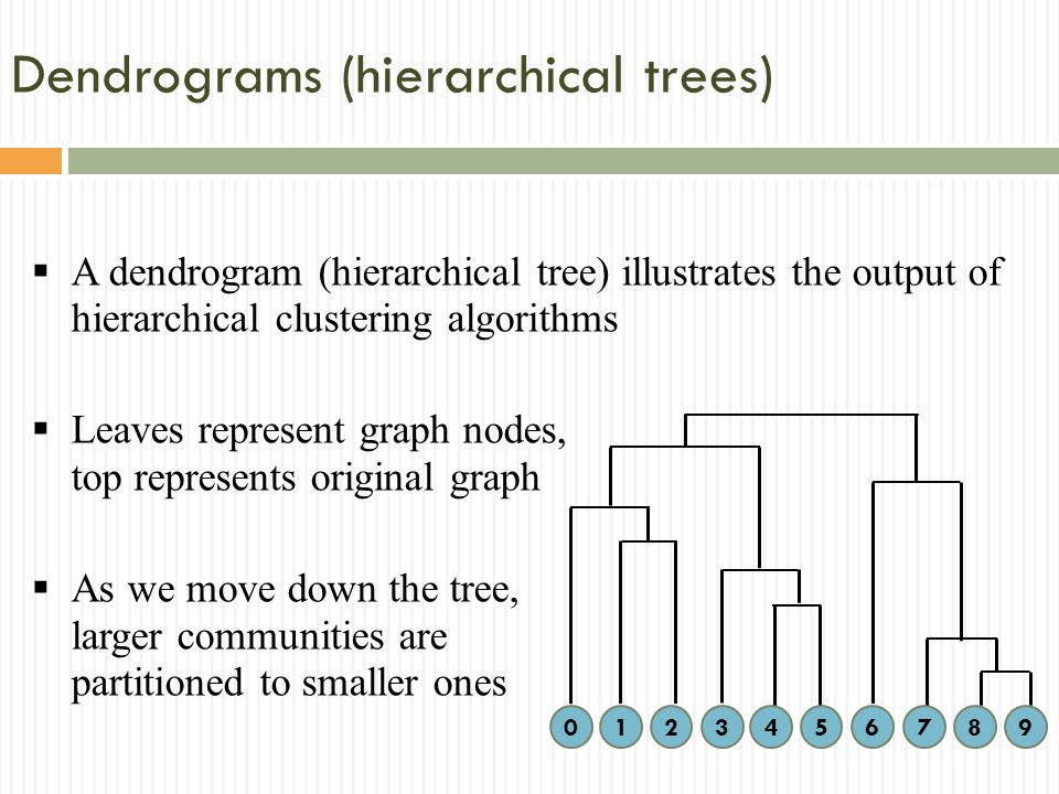 Dendrograms (hierarchical trees) A dendrogram (hierarchical tree) illustrates the output of hierarchical clustering algorithms Leaves represent graph nodes, top represents original graph As we move down the tree, larger communities are partitioned to smaller ones 1234567890