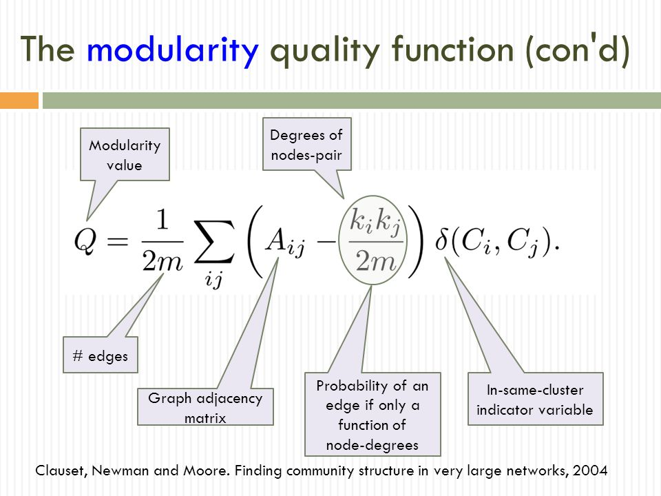 The modularity quality function (con d) Clauset, Newman and Moore.