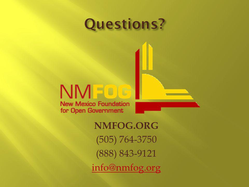 NMFOG.ORG (505) 764-3750 (888) 843-9121 info@nmfog.org