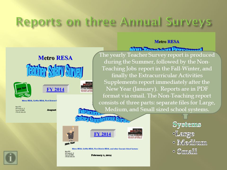 The yearly Teacher Survey report is produced during the Summer, followed by the Non- Teaching Jobs report in the Fall-Winter, and finally the Extracurricular Activities Supplements report immediately after the New Year (January).