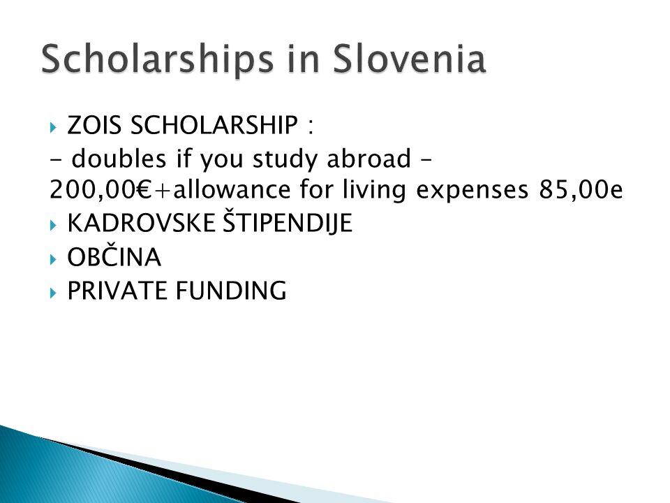 ZOIS SCHOLARSHIP : - doubles if you study abroad – 200,00+allowance for living expenses 85,00e KADROVSKE ŠTIPENDIJE OBČINA PRIVATE FUNDING