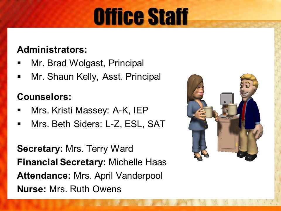 Office Staff Administrators: Mr. Brad Wolgast, Principal Mr. Shaun Kelly, Asst. Principal Counselors: Mrs. Kristi Massey: A-K, IEP Mrs. Beth Siders: L