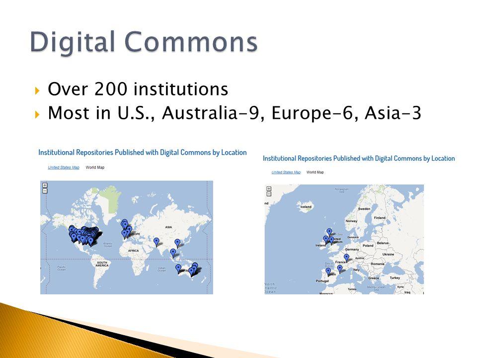 Over 200 institutions Most in U.S., Australia-9, Europe-6, Asia-3