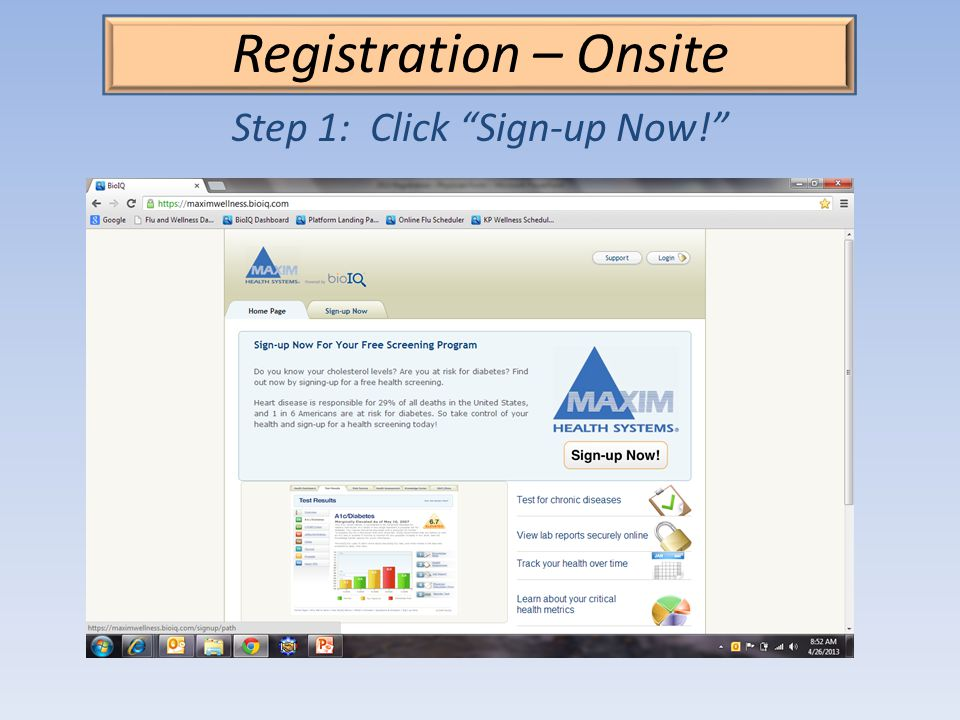Registration – Onsite Step 1: Click Sign-up Now!