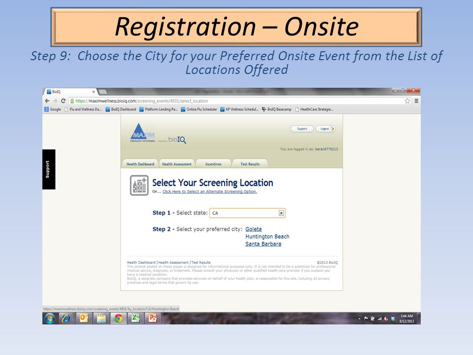 Registration – Onsite Step 9: Choose the City for your Preferred Onsite Event from the List of Locations Offered