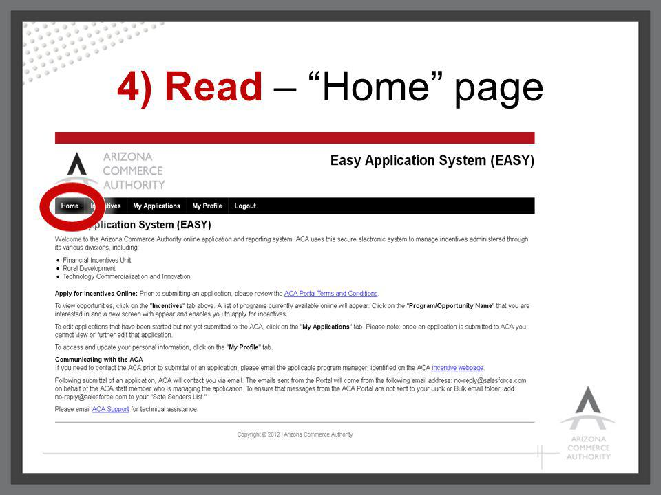 4) Read – Home page