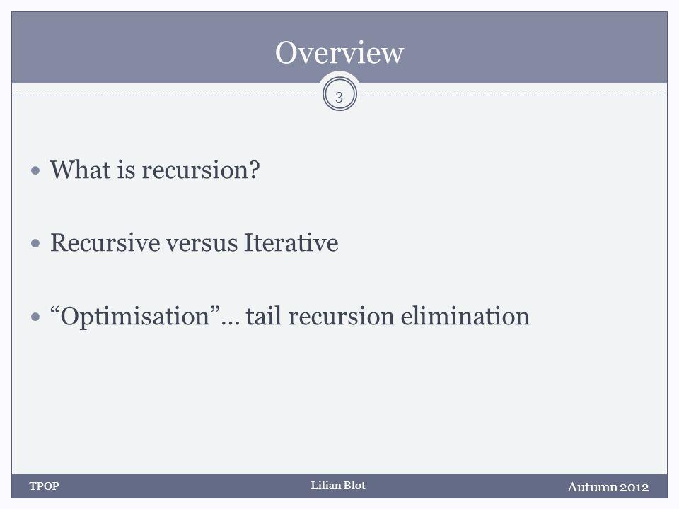 Lilian Blot Overview What is recursion.