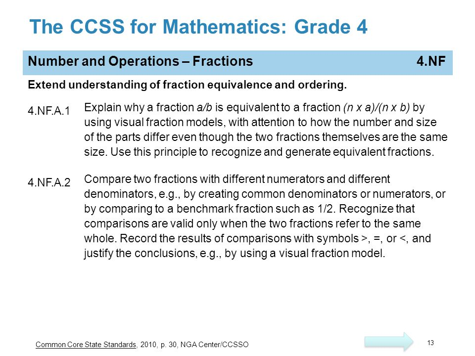The CCSS for Mathematics: Grade 4 Number and Operations – Fractions 4.NF Extend understanding of fraction equivalence and ordering.