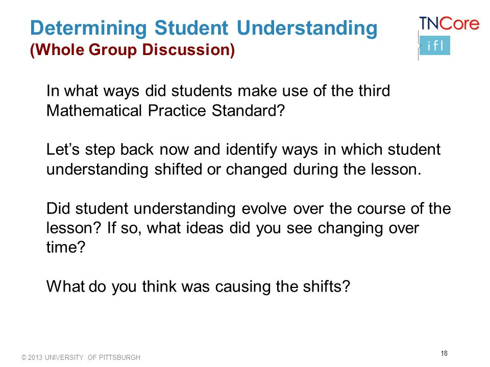 © 2013 UNIVERSITY OF PITTSBURGH Determining Student Understanding (Whole Group Discussion) In what ways did students make use of the third Mathematical Practice Standard.