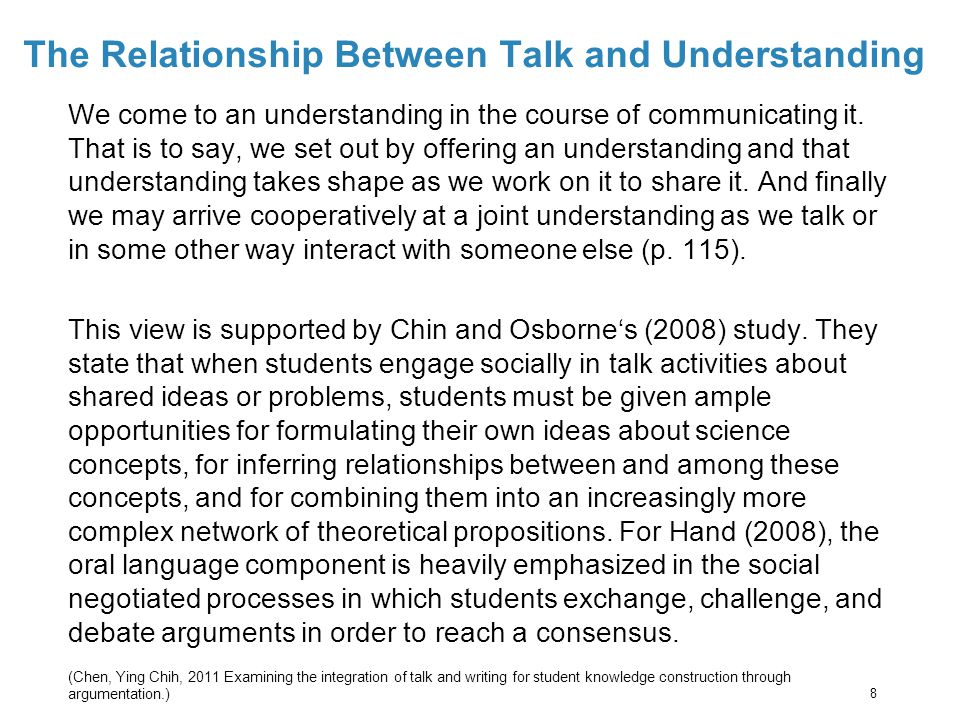 The Relationship Between Talk and Understanding We come to an understanding in the course of communicating it.