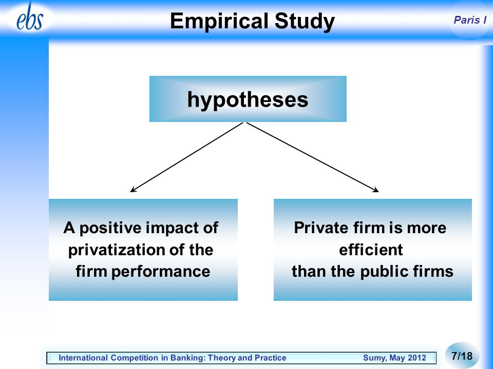 Paris I Empirical Study hypotheses A positive impact of privatization of the firm performance Private firm is more efficient than the public firms 7/18