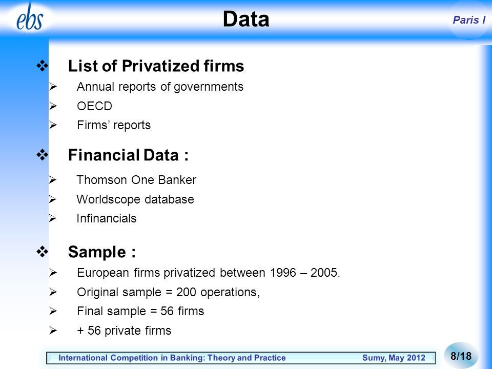 Paris I Private Operation date +3 0 -3 Private Privatized Public METHODOLOGY 9/18 t