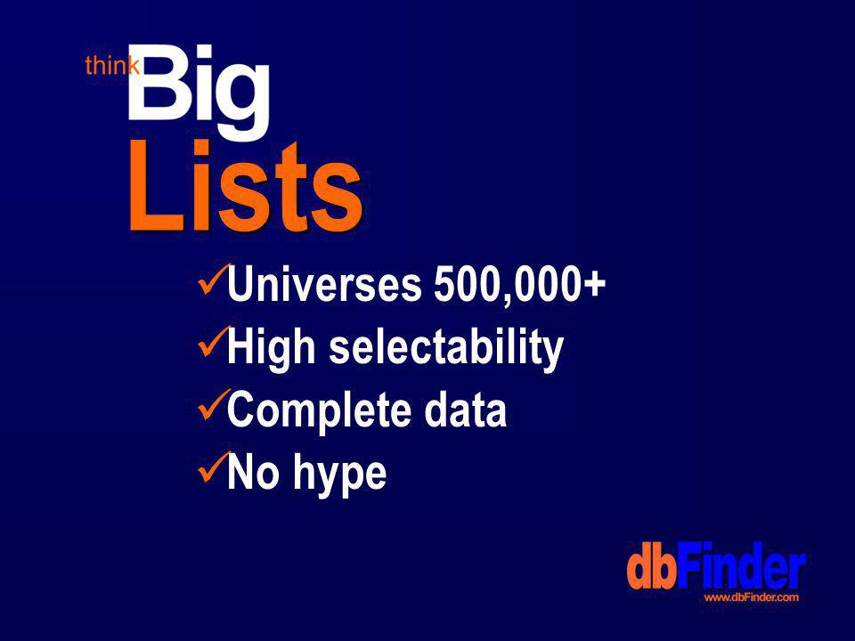 Lists Universes 500,000+ High selectability Complete data No hype