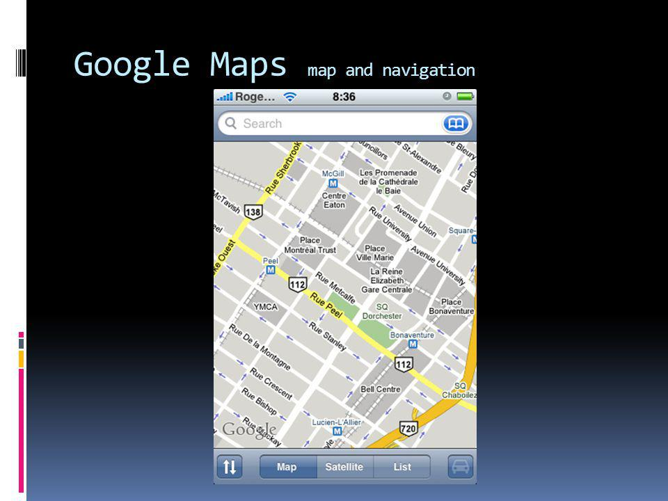 Google Maps map and navigation
