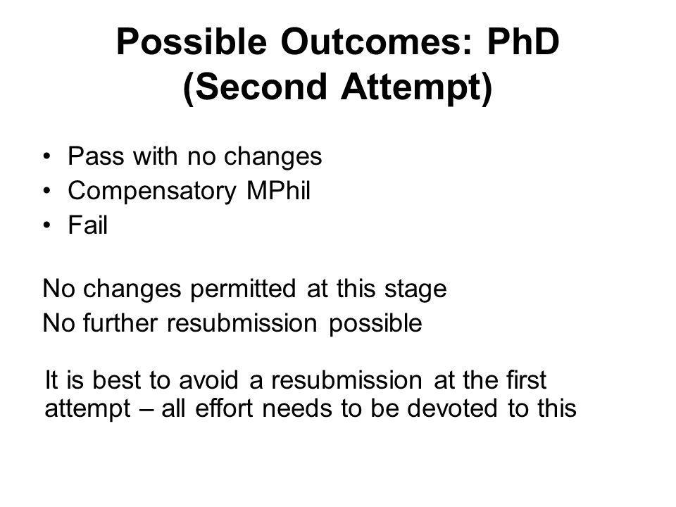 Possible Outcomes: PhD (Second Attempt) Pass with no changes Compensatory MPhil Fail No changes permitted at this stage No further resubmission possib