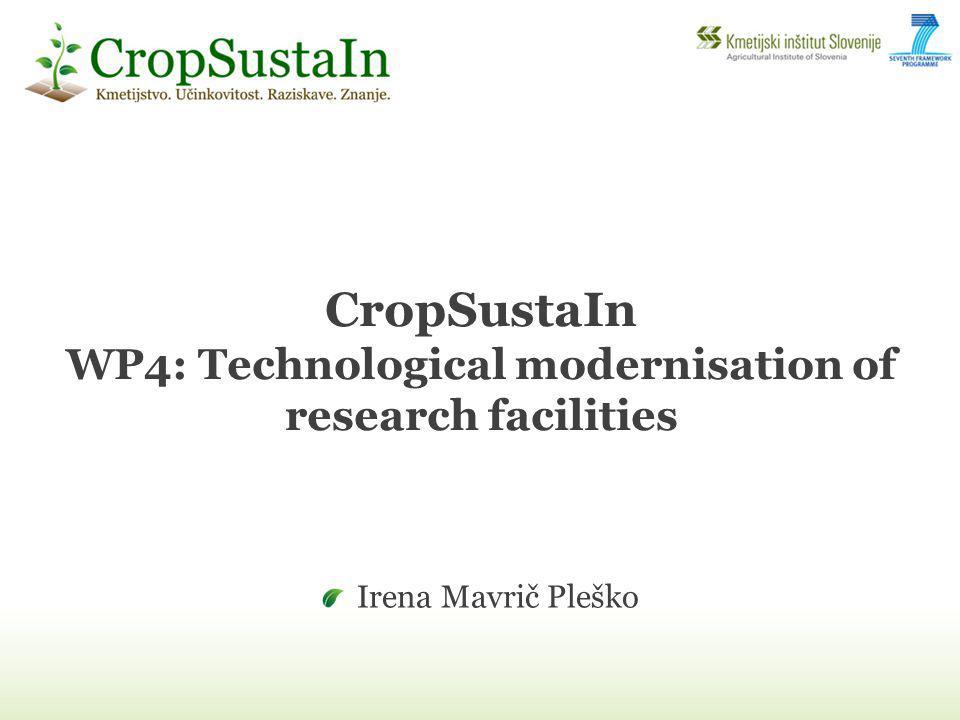CropSustaIn WP4: Technological modernisation of research facilities Irena Mavrič Pleško
