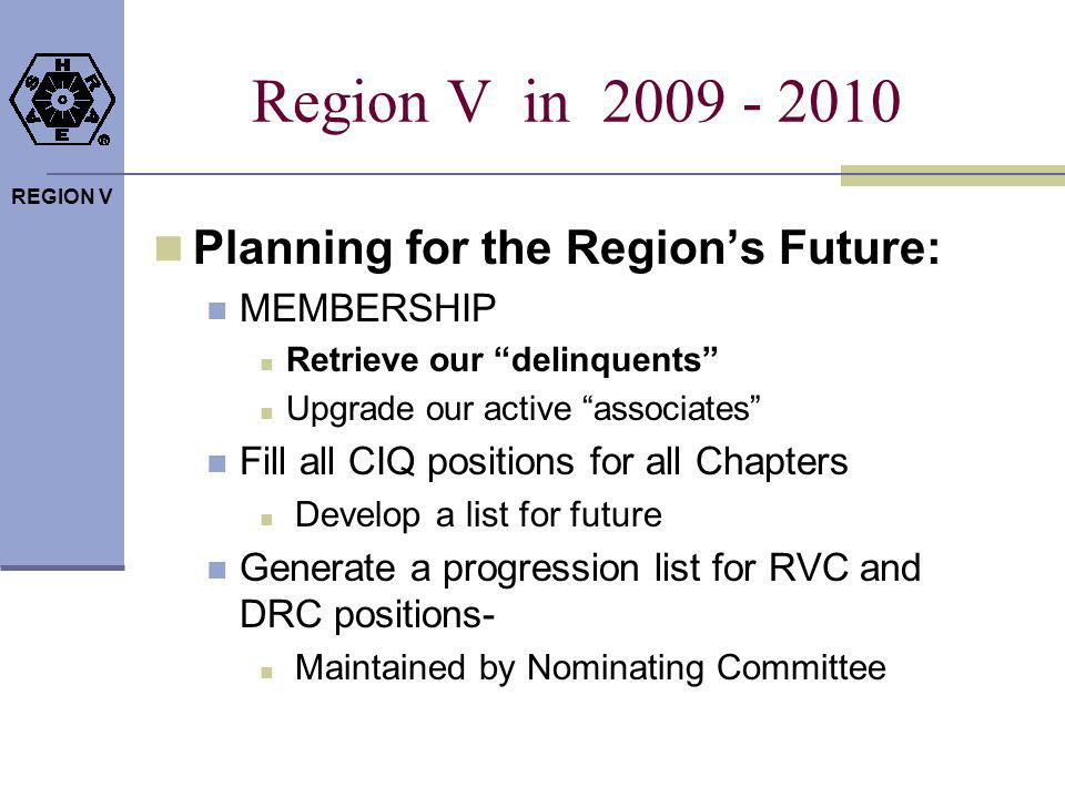 REGION V 2009 -10 DRC Goals Communication: Support Your Membership Drive Touch each Chapter at least once a month – phone or visit Update Website Every Other Month Region V newsletter embedded