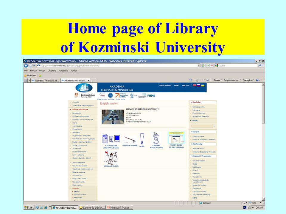 Home page of Library of Kozminski University