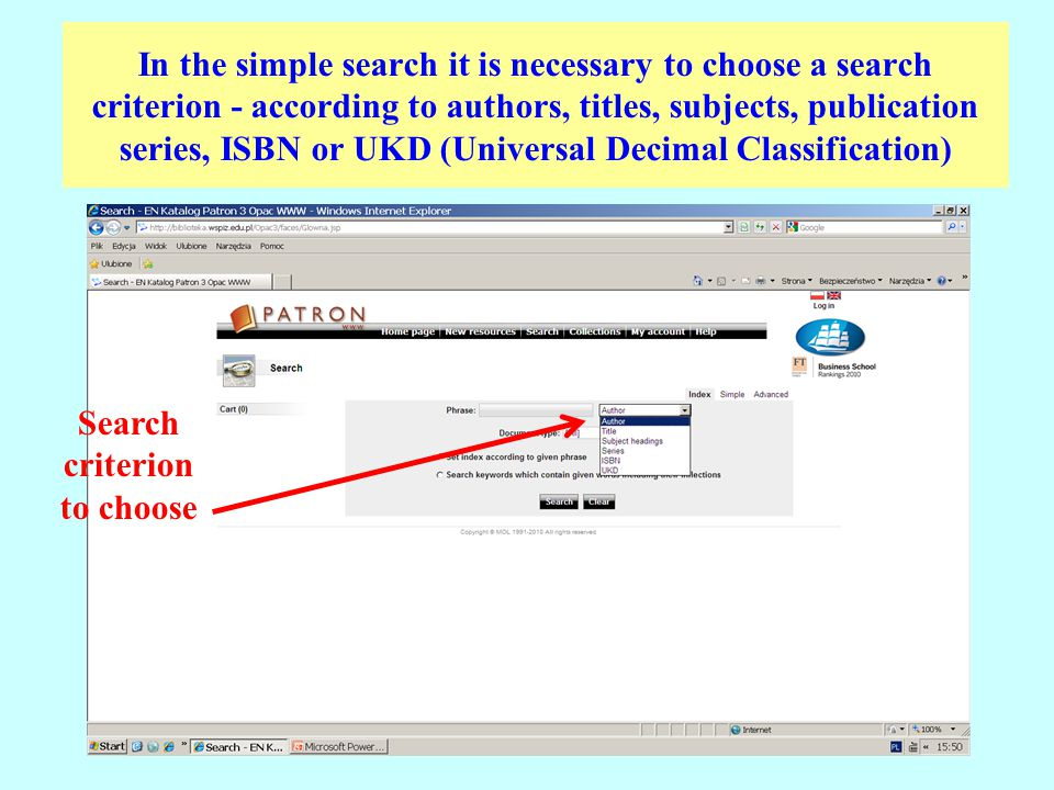 In the simple search it is necessary to choose a search criterion - according to authors, titles, subjects, publication series, ISBN or UKD (Universal Decimal Classification) Search criterion to choose