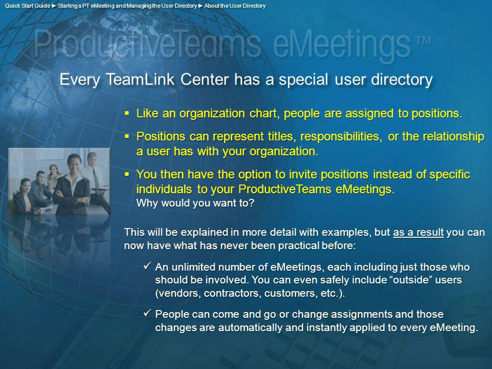Every TeamLink Center has a special user directory Like an organization chart, people are assigned to positions.