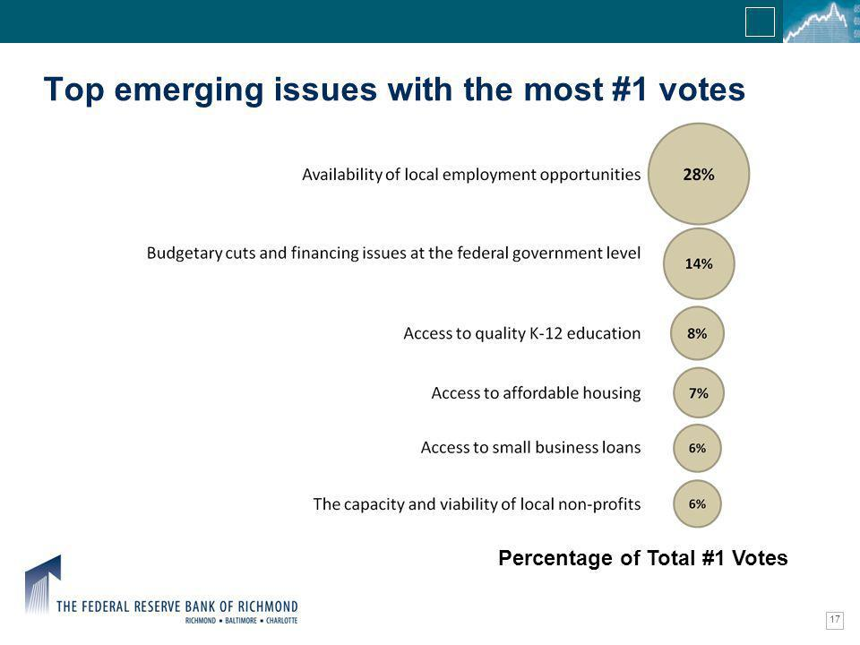 Confidential Information Top emerging issues with the most #1 votes 17 Percentage of Total #1 Votes