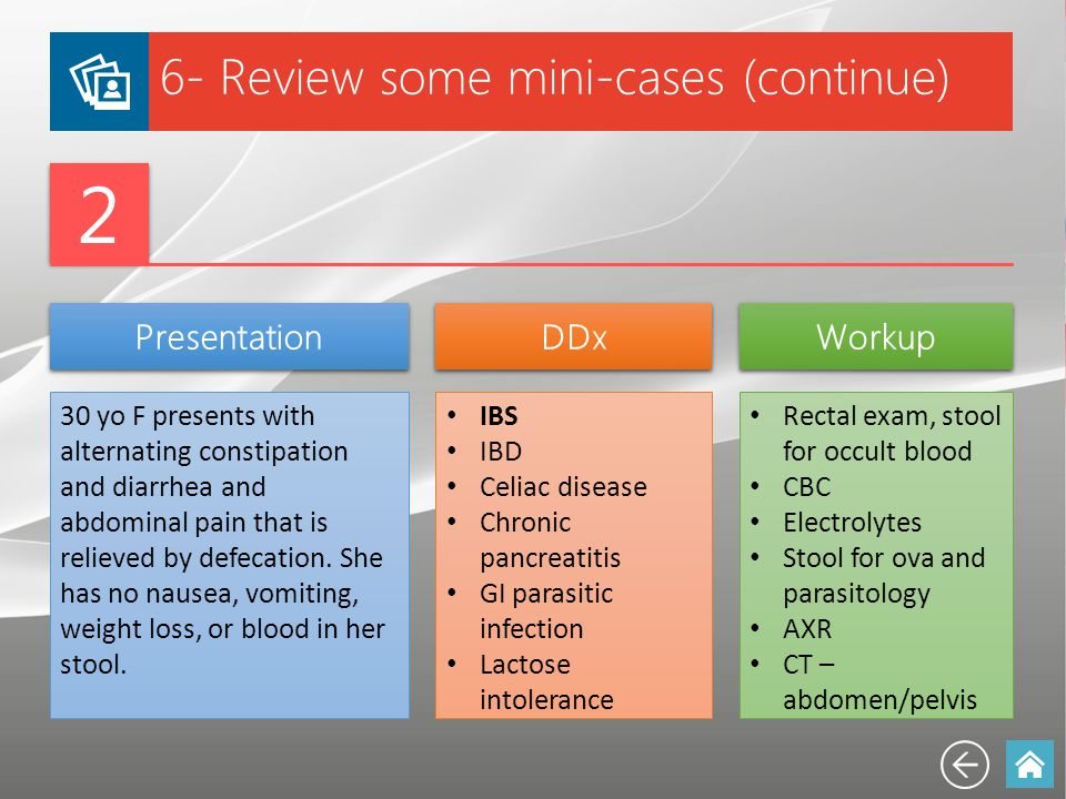 6- Review some mini-cases (continue) 2 2 Presentation DDx Workup 30 yo F presents with alternating constipation and diarrhea and abdominal pain that i