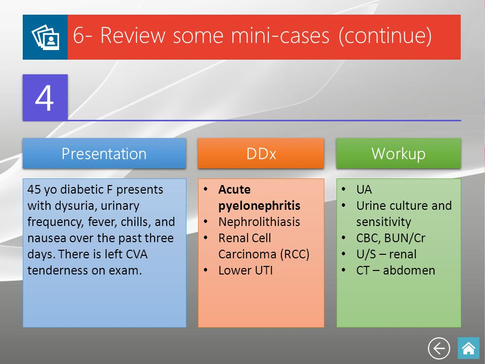 6- Review some mini-cases (continue) 4 4 Presentation DDx Workup 45 yo diabetic F presents with dysuria, urinary frequency, fever, chills, and nausea