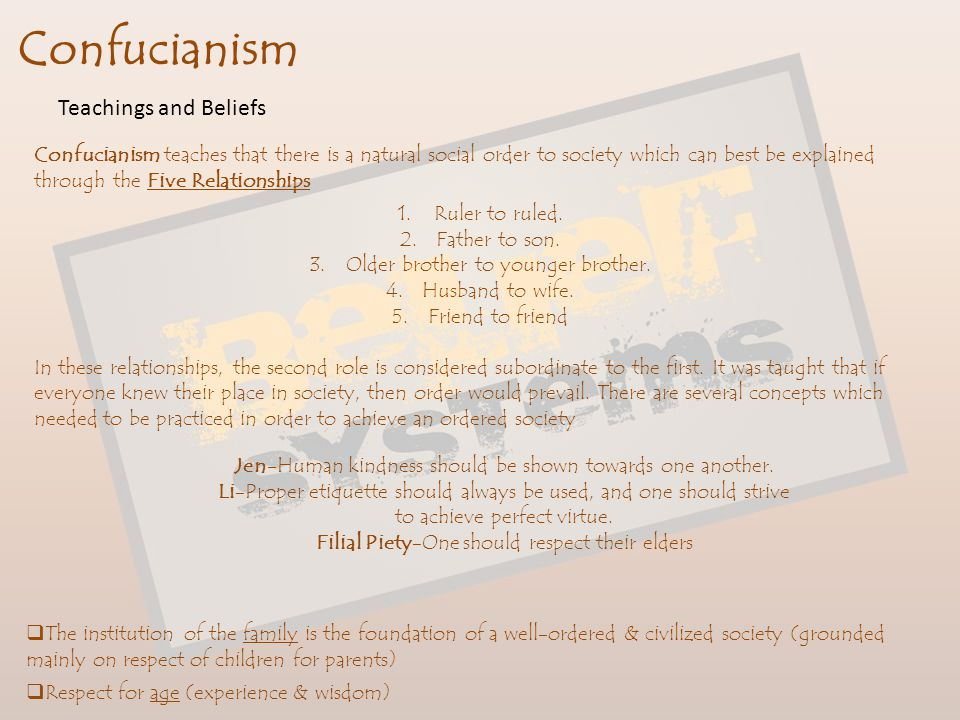 Confucianism Concerned primarily with restoring social stability and order What is the basis of a stable, unified, and enduring social order.