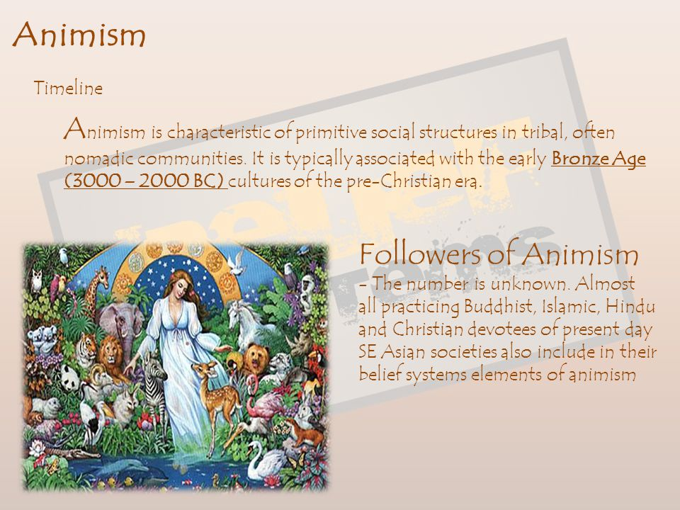 Animism Animism is a superstitious way of life that believes in spirit worship, fetishism and the worship of nature. Although manifesting itself in di
