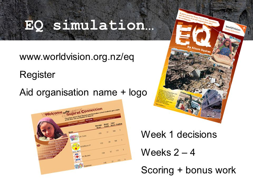 EQ simulation… www.worldvision.org.nz/eq Register Aid organisation name + logo Week 1 decisions Weeks 2 – 4 Scoring + bonus work