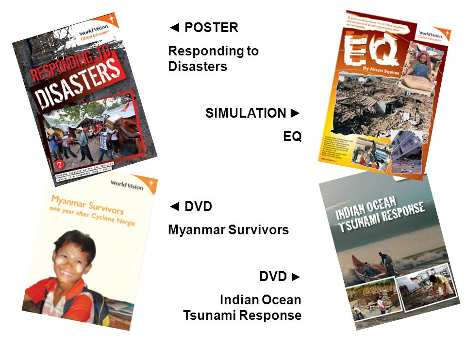 POSTER Responding to Disasters SIMULATION EQ DVD Myanmar Survivors DVD Indian Ocean Tsunami Response