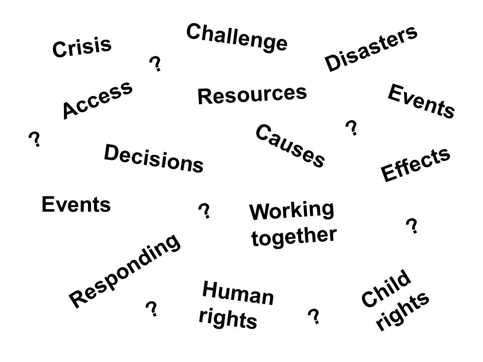 Events Challenge Disasters Crisis Access Responding Resources Human rights Events Child rights Working together Decisions Causes Effects .