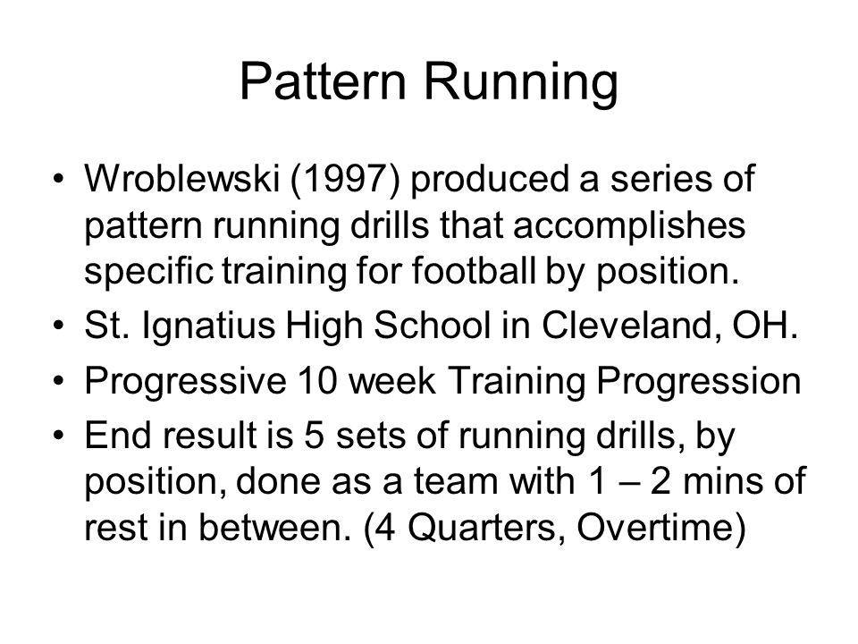Pattern Running Wroblewski (1997) produced a series of pattern running drills that accomplishes specific training for football by position. St. Ignati