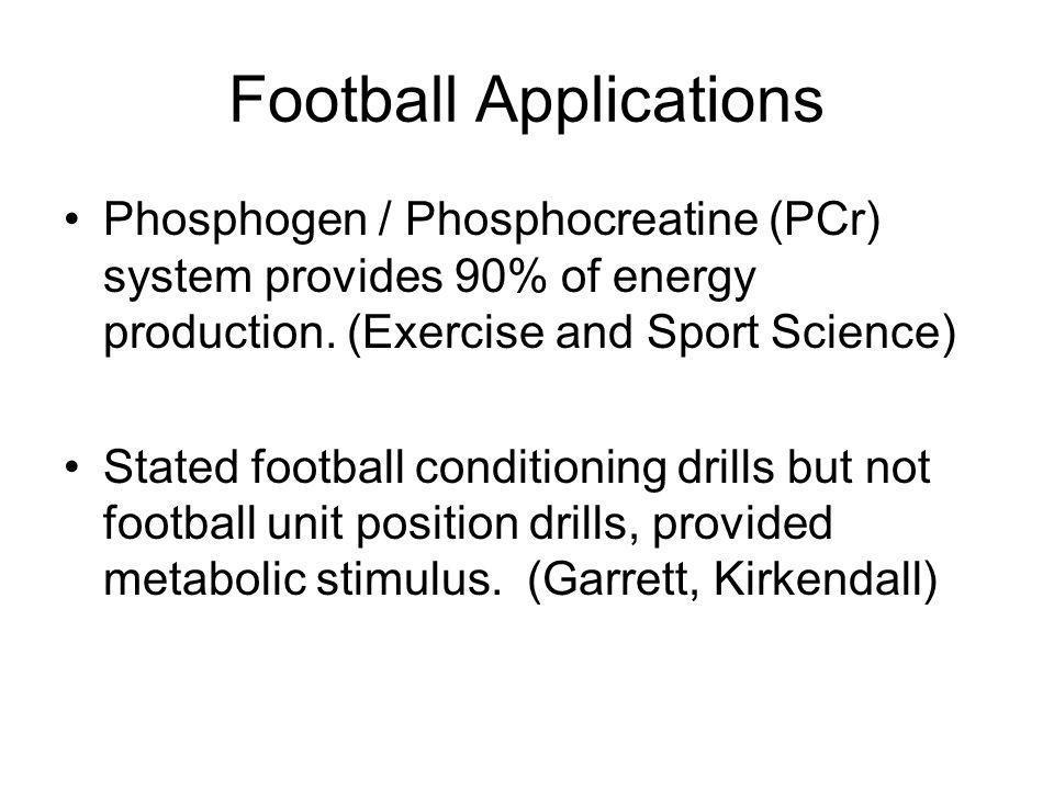 Football Applications Phosphogen / Phosphocreatine (PCr) system provides 90% of energy production.