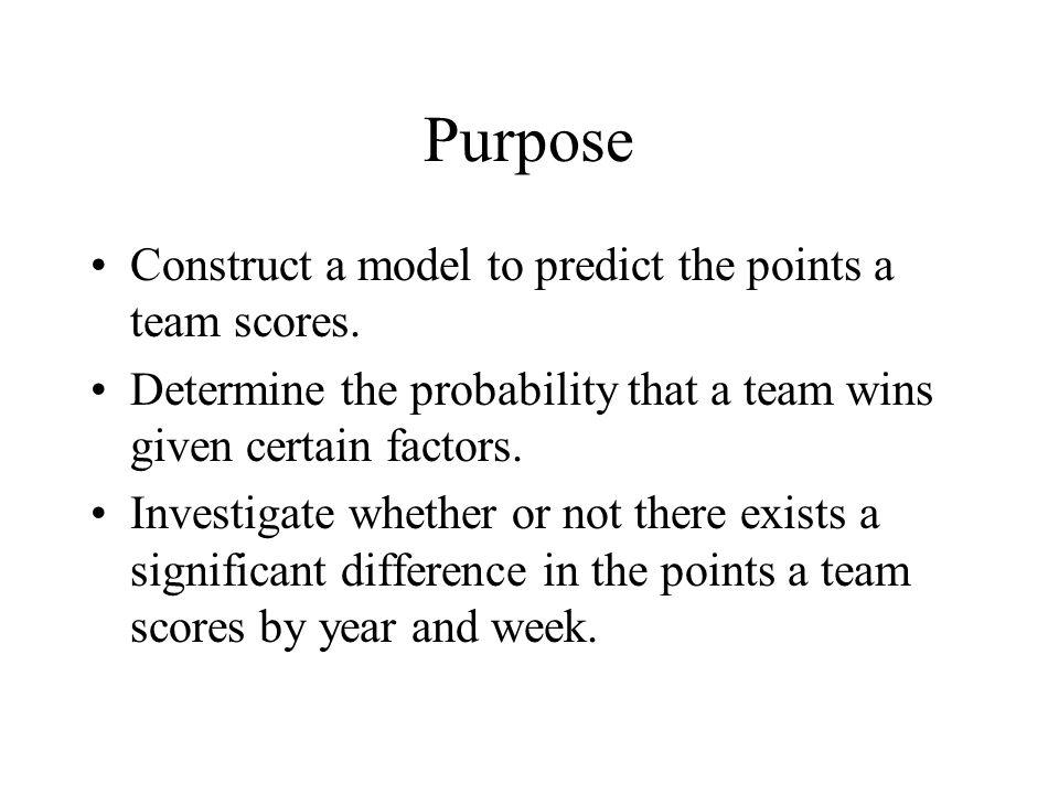Purpose Construct a model to predict the points a team scores.