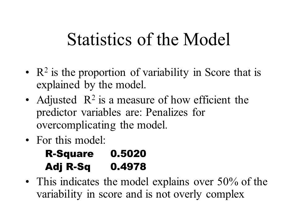 Statistics of the Model R 2 is the proportion of variability in Score that is explained by the model.