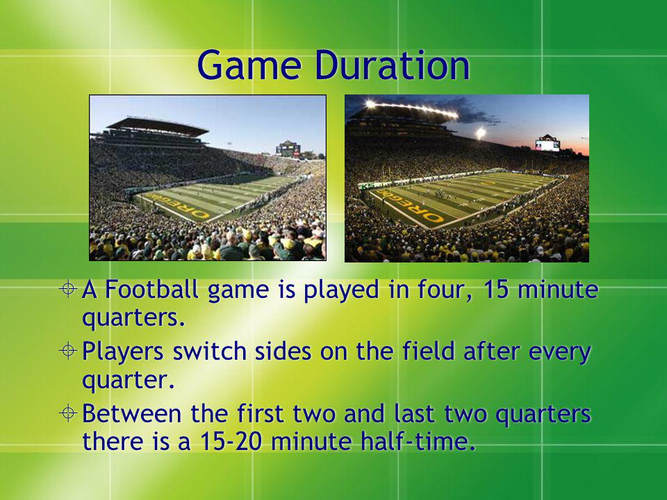 Game Duration A Football game is played in four, 15 minute quarters.