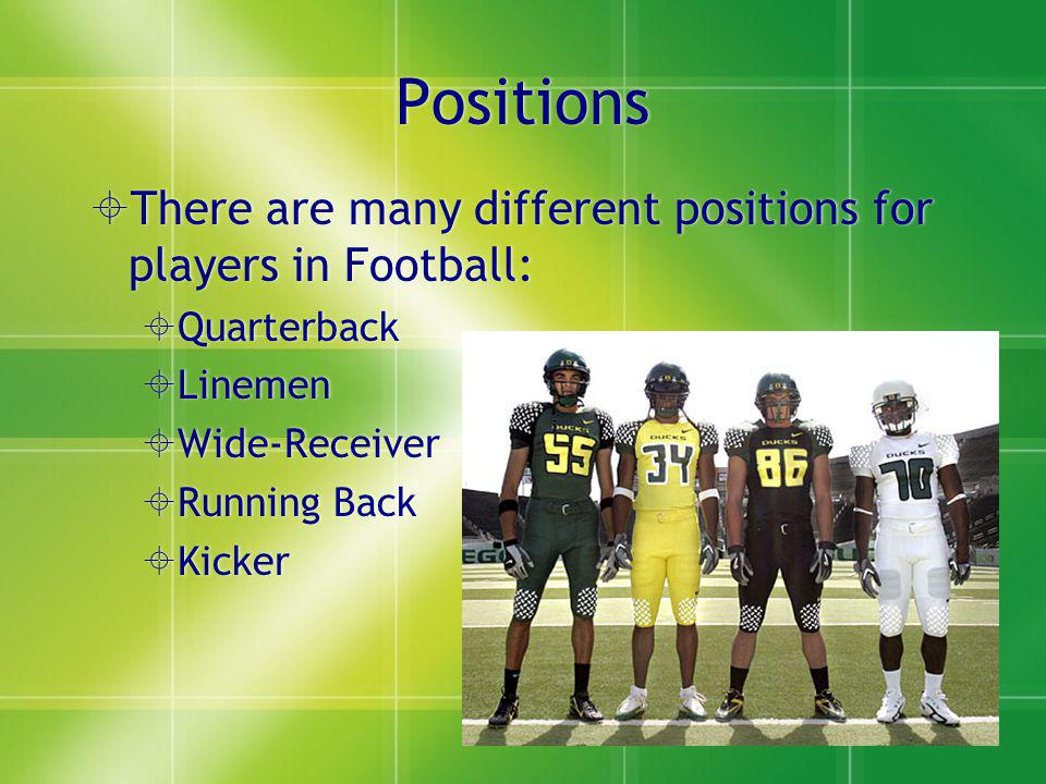 Positions There are many different positions for players in Football: Quarterback Linemen Wide-Receiver Running Back Kicker There are many different positions for players in Football: Quarterback Linemen Wide-Receiver Running Back Kicker
