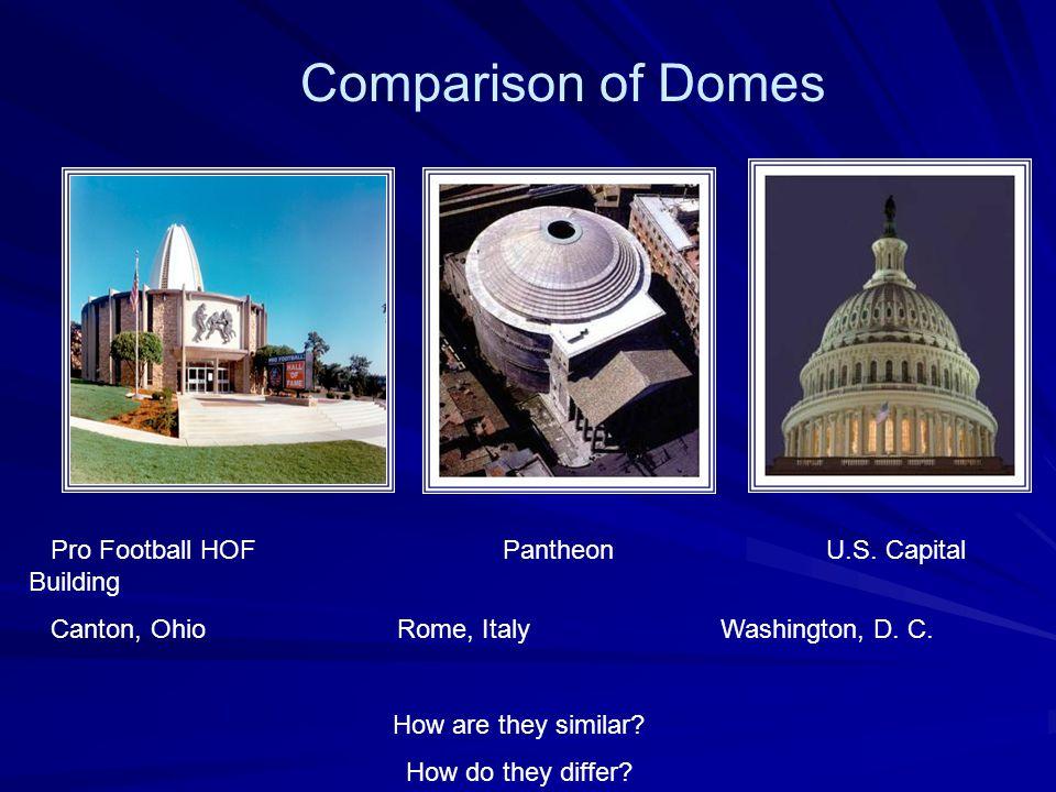 Pro Football HOF Pantheon U.S.Capital Building Canton, Ohio Rome, Italy Washington, D.