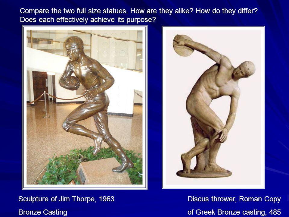 Sculpture of Jim Thorpe, 1963 Discus thrower, Roman Copy Bronze Casting of Greek Bronze casting, 485 B.C.