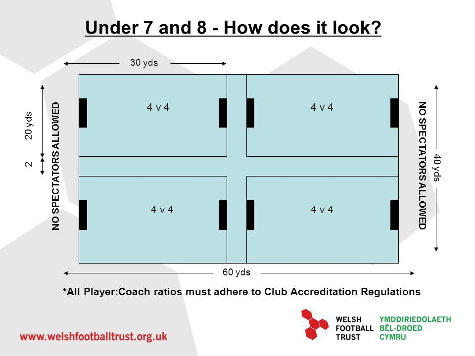 Pitch layout with parent buffer zones Under 7 and 8 - Pitch layout with parent buffer zones 2m 4 v 4 NO SPECTATORS ALLOWED *All Player:Coach ratios must adhere to Club Accreditation Regulations
