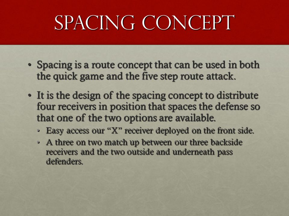 Milford Football Drop Back Passing Game Concepts Spacing Routes